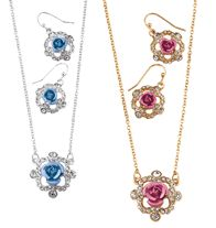 "Sparkling Roses Necklace and Earring Gift Set - Enamel-look rosettes with rhinestones. Necklace, 16 1/2"" L with 3 1/2"" extender. Pierced earrings, 1"" L. Regularly $19.99, buy Avon jewelry gift sets online at http://eseagren.avonrepresentative.com"