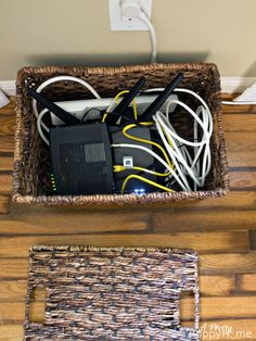 Hiding a Router and Modem in Plain Sight boxes to hide cords Hide Tv Cords, Hide Cables, Hiding Cords, Hide Wires From Tv, Cheap Home Decor, Diy Home Decor, Hide Router, Hide Cable Box, Licht Box