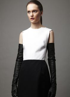 Edgy Elegance - black & white structured dress & long leather gloves // Tome AW12