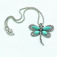 USD $ 6.99 - Vintage Antique Silver Dragonfly Turquoise Necklace(Green)(1 Pc), Free Shipping On All Gadgets!