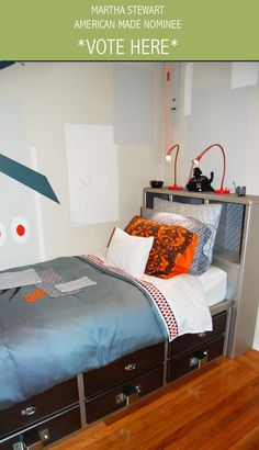 Refinished sic-fi Bed for Kids Room: Juvenile Hall Design; creators of kids room design & decor.  Please support us with your vote! #juvenilehalldesign http://www.marthastewart.com/americanmade/nominee/80332?xsc=SOC_AM_NomFB