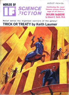 scificovers:  Ifvol 15 no 8 August 1965. Cover by Jack Gaughan illustratingTrick or Treaty by Keith Laumer.