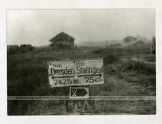 The road sign – Dresden 2425 kilometers, to Stalingrad – 75. The two crossed sabers emblem at sign below belonged to 94.Infanterie-Division destroyed in Stalingrad later. photos | Photo-war.com