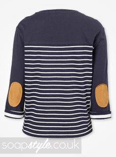 EastEnders Lauren Branning // Jacqueline Jossa // Lauren's Elbow Patch Stripe Top - 4th October '13 [ Click photo for details ▴▴ ]