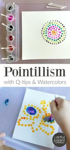 Pointillism Art for Kids with Q-tips and Watercolors – Worth Repeating! Pointillism Art for Kids with Q-tips and Watercolors – Worth Repeating!,Kids Crafts Pointillism art with Q-tips is one of our standby, super-easy-yet-interesting activities. Arte Elemental, Art Activities For Kids, School Age Activities, Painting Activities, Outside Kid Activities, Art Projects For Kindergarteners, Family Activities, Art For Preschoolers, School Age Crafts