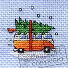 Camper Van Collecting the Tree Christmas Card Cross Stitich