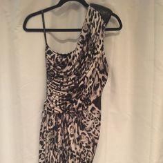 Bebe one shoulder animal print dress Bebe worn once one shoulder animal print dress bebe Dresses Mini