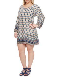 Rainbow Plus Size Boho Border Print Dress with V Neck