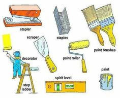 Tools, Equipment, Devices and Home Appliances Vocabulary: Items Illustrated - ESLBuzz Learning English English Verbs, English Sentences, English Fun, Learn English Words, English Writing, English Study, English Lessons, English Grammar, English Language