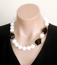 Ashira Black & White Statement necklace black by AshiraJewelry