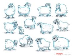 A few rough concepts of sheep by chewgag.deviantart.com on @deviantART || CHARACTER DESIGN REFERENCES | Find more at https://www.facebook.com/CharacterDesignReferences if you're looking for: #art