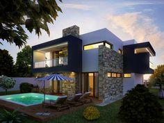 Locuinţă modernă, cu suprafeţe vitrate mari | CasaMea.ro Dream Mansion, Dream House Exterior, Design Case, Home Fashion, Living Room Designs, Facade, Mansions, Architecture, House Styles