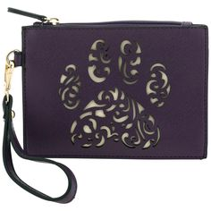 Small and simple, this plum-colored wristlet is as darling as it is functional! Topped with a lace-cut paw print on the front, this faux leather wristlet keeps your essentials organized while maintaining its minimalist appeal.