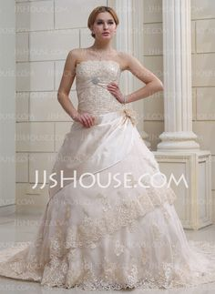 Ball-Gown Strapless Chapel Train Organza Satin Wedding Dress With Ruffle Lace Beadwork Crystal Brooch Flower(s) (002000356)