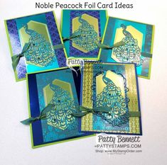 Create amazing peacock card with the Noble Peacock Specialty designer paper and foil from Stampin' UP! Card ideas by Patty Bennett Handmade Birthday Cards, Greeting Cards Handmade, Bee Cards, Stampin Up Catalog, Foil Paper, Card Making Tutorials, Heartfelt Creations, Animal Cards, Stamping Up