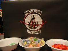 Dauntless Snack for the Divergent Theme Party.  Pop Rocks, Cry Baby Sour bubble gum, 3 Alarm Hot Tamales!!