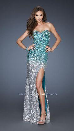 { 18711 | La Femme Fashion 2013 } La Femme Prom Dresses - Sequined - Criss-Cross Back - Side Slit - Sparkling Stones