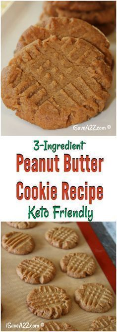 3 Ingredient Keto Peanut Butter Cookies Recipe http://healthyquickly.com