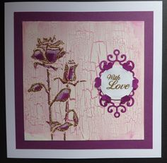 'Roses with Love' card.   Imagination Craft's - Rose Duo panel stencil. White Gesso.  Rose stencil paint.  Stencil brush.  Crackle Medium. Pink lace Silkies. Gold gilt Detail Sparkle.  'With Love' stamp from the Rose decoupage stamp set.  White card.Gold embossing powder. Spellbinder's die.  Nellie Snellen die.  April 2015.