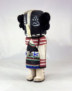 Territorial Indian Arts  Sweet little old style Kachina carved from dried cottonwood root by Hopi artist Kevin Chavarria.