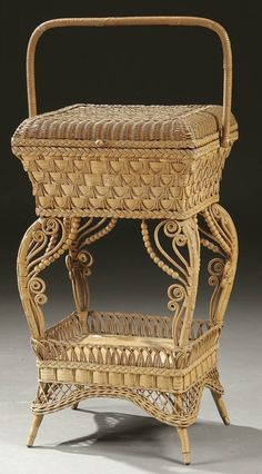 A VERY FINE VICTORIAN WICKER SEWING BASKET with o