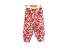 Girls Liberty of London pantalon/trousers, red and cream babycord