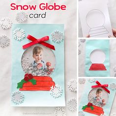 Get a free printable snow globe template to create your own DIY snow globe card. An easy handmade Christmas card idea for kids to help make! Dollar Tree Christmas, Christmas Card Crafts, Christmas Card Template, Christmas Cards To Make, Xmas Cards, Kids Christmas, Simple Christmas, Diy Snow Globe, Snow Globes