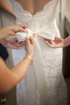 elegant details on back of lace wedding dress