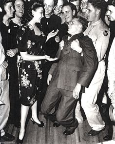 "A solider goes ""weak at the knees"" after Linda Darnell asks him to dance at the Hollywood Canteen, 1940s #WWII #History"