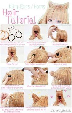 DIY Japanese kitty ear hair tutorial
