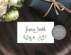 Place Card Template wedding name card Eucalyptus leaves