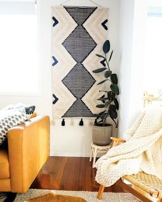 Add an eclectic feature to your living spaces with our woven wall hangings! Measuring x these large textural hangings will most definitely add personality and warmth to your home. Fabric Wall Decor, Wall Decor Design, Living Spaces, Living Room, Woven Wall Hanging, Affordable Art, Wall Hangings, Personality, Style Inspiration