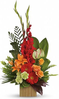 red and orange flower arrangements | Heart's Companion - Teleflora Funeral Flowers