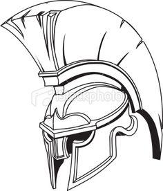 Illustration of Spartan roman greek trojan or gladiator helmet Royalty Free Stock Vector Art Illustration