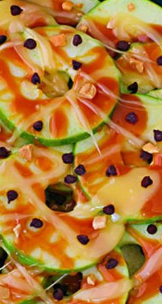 """Apple """"Nachos"""" drizzled with caramel. The sticky fingers will be so worth it!"""
