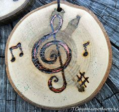 wood slice painting, ornament, treble clef painting, music notes, wood burning, metallic, musical ornament, wood slice, snowman wood slice #musicgifts #handmade #trebleclef