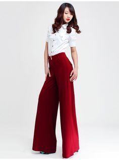 la primavera 2013 rojo pantalones de pierna ancha mujer slim cintura alta casual más el tamaño de los