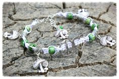 Green Mushroom Hemp Anklet Handmade Glass by HippiesHopeShop <3 Every item sold provides a meal for someone in need :)