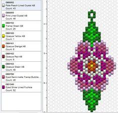 Beaded Flowers Patterns, Beaded Earrings Patterns, Peyote Patterns, Beading Patterns, Bead Earrings, Bracelet Patterns, Motifs Perler, Beaded Banners, Peyote Beading