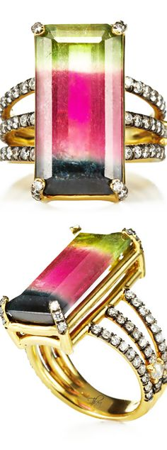 Jemma Wynne ● Resort 2015, Emerald Cut Tourmaline Ring With Triple Pave Diamond Band