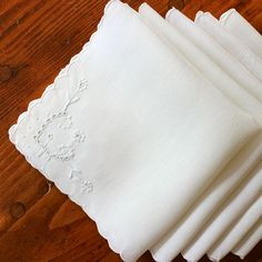 Vintage Linen Napkins Embroidered Madeira White by KerryCan