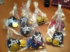 Treasure bags for pirate birthday party for kids More