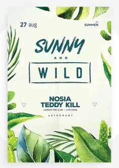 Tropical Party Poster Template PSD Poster Templates, Email Templates, Island Theme Parties, Summer Poster, Sale Flyer, Tropical Party, Party Poster, Party Themes, Plant Leaves