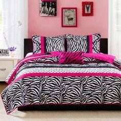 bed bag twin size sham pink zebra cheetah animal 8 pc comforter