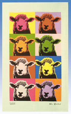 New Zealand designed tea towel featuring an Andy Warhol inspired pop art sheep print. Ikea Frames, Kiwiana, Online Gift Shop, Vintage Nursery, Tea Towels, New Art, Sculpture Art, New Zealand, Sheep