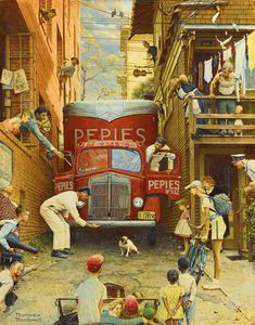 Beautiful 'Road Block' by Norman Rockwell Painting Print on Wrapped Canvas by Vault W Artwork Wall Art Decor from top store Peintures Norman Rockwell, Norman Rockwell Art, Norman Rockwell Paintings, Graffiti Murals, American Art, Art Reproductions, Les Oeuvres, Art History, Vintage Art