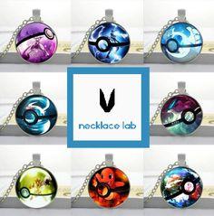 Glass Pokemon Pokeball Pendant