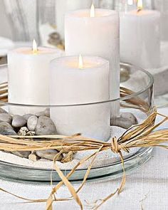 10 Pillar Candle Holder Display Ideas: http://www.completely-coastal.com/2012/11/pillar-candle-holders-display-ideas-coastal-and-beach.html