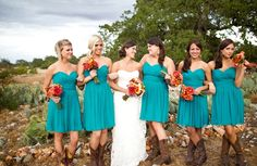bouquets, homespun, orange, red, yellow, bridesmaid dresses, short, strapless, sweetheart, turquoise, whimsical/bright, brown, cowbowy boots, cowboy, women shoes, shabby chic, Fall, barnyard, Round Mountain, Texas