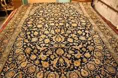 This is a very large Kashan hand knotted Persian carpet It is predominantly yellow and light blue on a navy blue background which make this carpet visually striking This carpet has a good pile with no wear SOLD Rugs On Carpet, Carpets, Navy Blue Background, Persian Carpet, Animal Print Rug, Renaissance, November, Home Decor, Farmhouse Rugs
